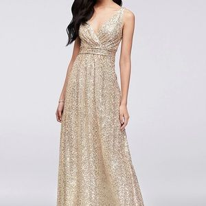 NWT David's Bridal Long Dress Sequin Gown 4 F19787